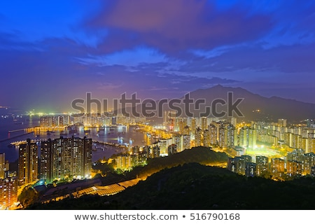 tuen mun skyline and south china sea at night stock photo © cozyta