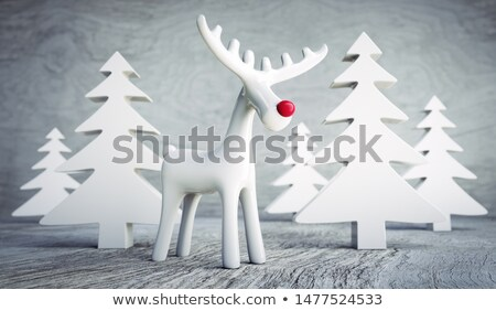 wooden reindeer figurine 3d stock photo © djmilic