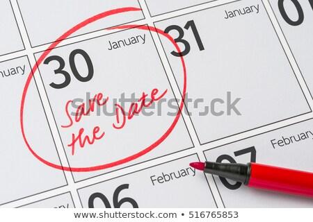 Opslaan datum geschreven kalender 30 partij Stockfoto © Zerbor