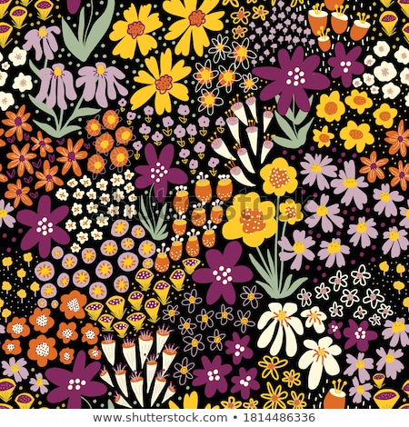yellow decorative summer floral fall seamless pattern. black and Stock photo © Galyna