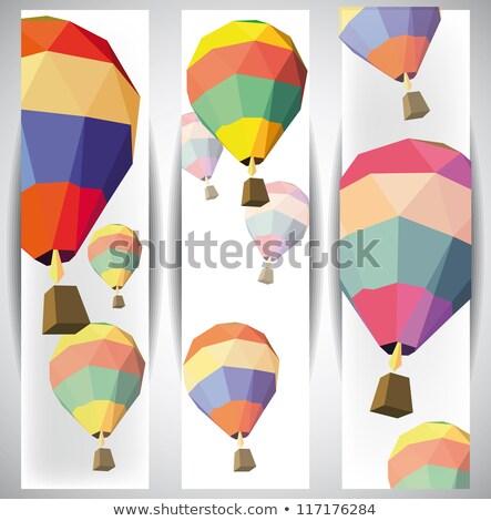 balão · de · ar · quente · blue · sky · vetor · ícone · nuvens · céu - foto stock © beholdereye