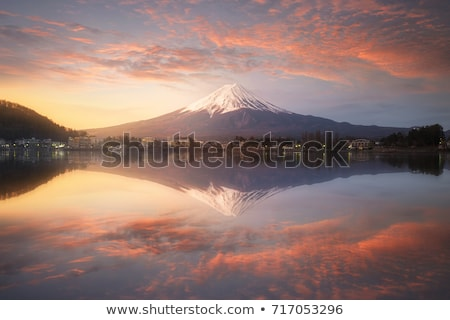 Stockfoto: Mount · Fuji · zonsopgang · antenne · meer · stad · sneeuw