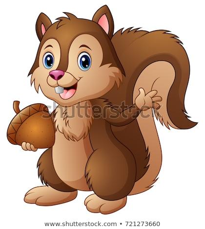 cute squirrel cartoon waving Stock photo © jawa123