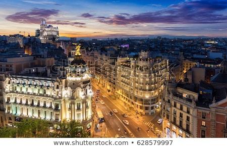 Madrid szürkület Spanyolország forgalom belváros utca Stock fotó © joyr