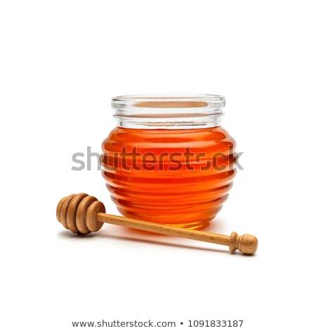 Méz bögre fából készült kint üveg méh Stock fotó © Yatsenko