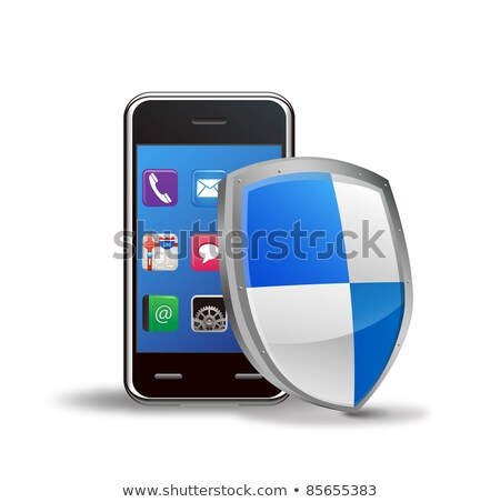 Mobile phone security concept. Cellphone and shield, 3d Illustration stock photo © tussik