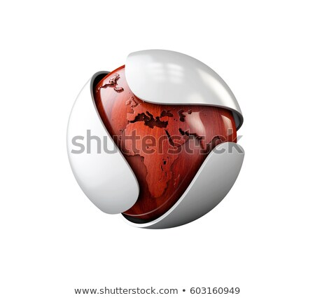 abstract gray leaf with wood sphere logo isolated on white 3d illustration stock photo © tussik