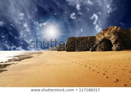 Ayak izleri kum deniz şafak plaj su Stok fotoğraf © Mikko