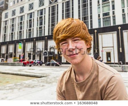 Vidám fiú serdülőkor savanyúság arc haj tini Stock fotó © meinzahn
