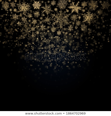 Golden snowflakes blizzard in the darkness Stock photo © SwillSkill