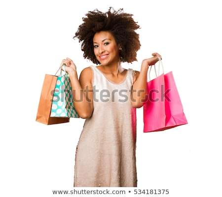 Young African Black Woman withBag Isolated Stock photo © robuart
