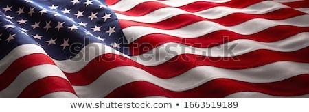 Amerykańską flagę pływające wiatr podpisania banderą star Zdjęcia stock © BrandonSeidel