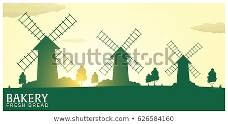 Poster Rural landscape with windmill. Sunrise. Bakery. Fresh bread. Vector illustration. Stock photo © Leo_Edition