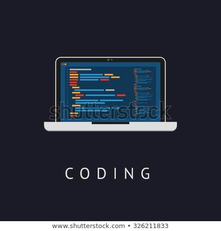 html · kódolás · laptop · képernyő · közelkép · leszállás - stock fotó © tashatuvango