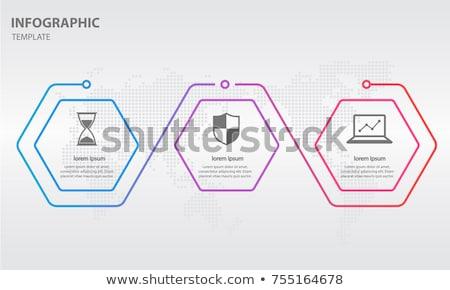 ベクトル インフォグラフィック 薄い 行 六角形 テンプレート ストックフォト © orson