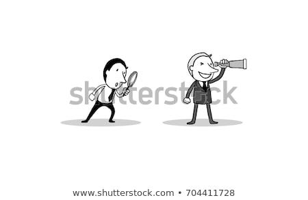 marketing research through magnifying glass doodle concept stock photo © tashatuvango