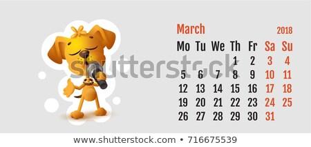 Yellow dog singing solo microphone Stock photo © orensila