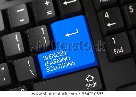 Stockfoto: Leren · oplossingen · 3D · moderne · toetsenbord