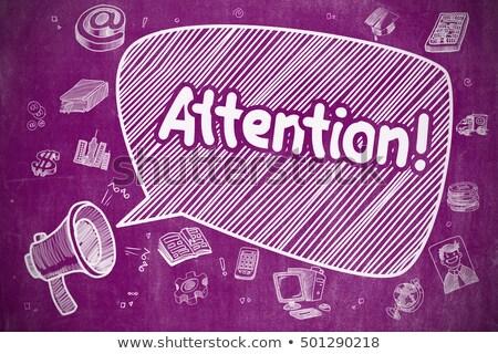 Atenção desenho animado ilustração roxo quadro-negro balão de fala Foto stock © tashatuvango