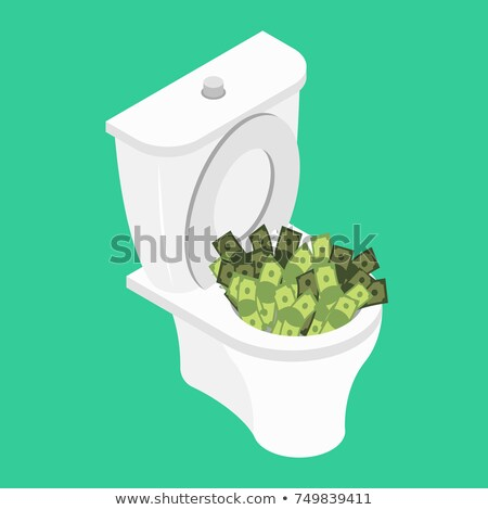 Money in toilet.. Wash off cash in wc. Vector illustration Stock photo © popaukropa