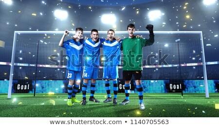 balón · de · fútbol · jugando · campo · fútbol · neto · objetivo - foto stock © is2