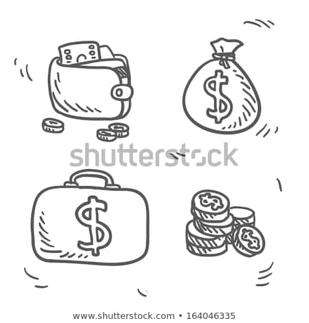 Cüzdan para kroki ikon vektör yalıtılmış Stok fotoğraf © RAStudio