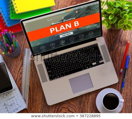 B-terv laptop képernyő közelkép leszállás oldal Stock fotó © tashatuvango