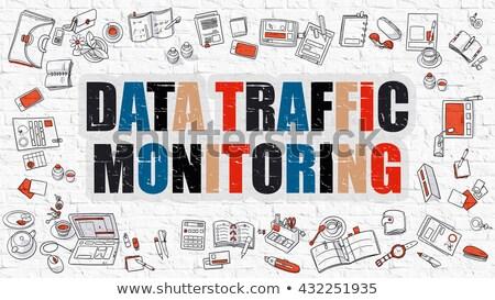 Data Traffic Monitoring in Multicolor. Doodle Design. Stock photo © tashatuvango