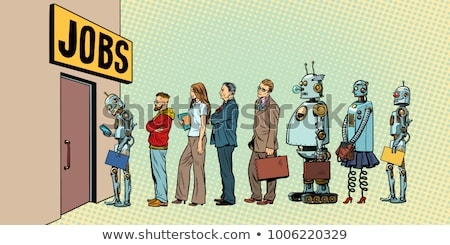 competition of people and robots for jobs Stock photo © studiostoks