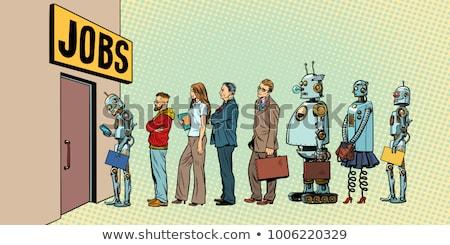 Stockfoto: Concurrentie · mensen · robots · jobs · technologisch · revolutie