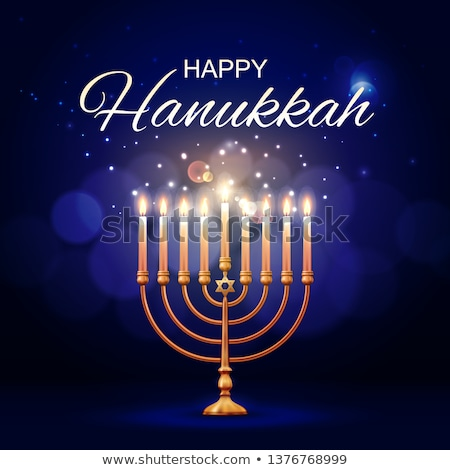 Happy Hanukkah with jews symbol and lights Stock photo © bluering