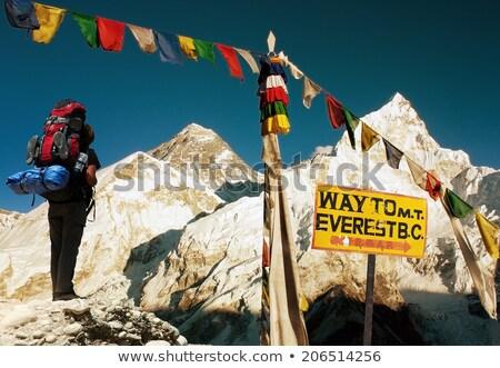 Everest Dağı tabelasını seyahat kamp himalayalar Nepal Stok fotoğraf © blasbike