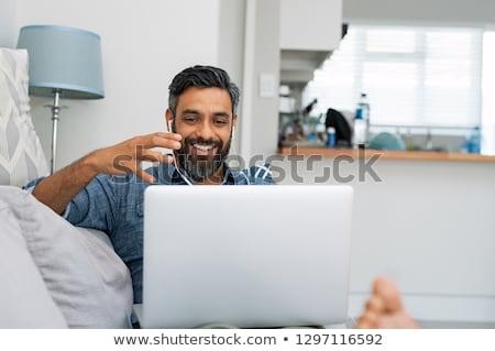 Stockfoto: Man · home · gelukkig · interieur · woonkamer