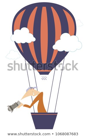 Young man with a camera flying on the air balloon isolated illustration Stock photo © tiKkraf69