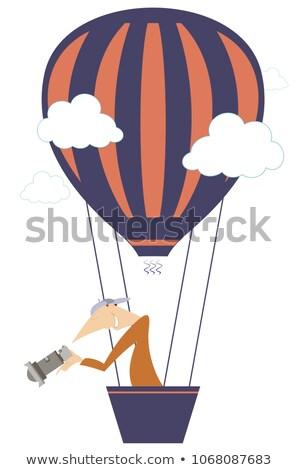 молодым человеком камеры Flying воздушный шар изолированный иллюстрация Сток-фото © tiKkraf69