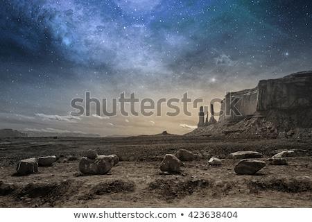 illustration · cartoon · vaisseau · spatial · atterrissage · rouge · désert - photo stock © bluering