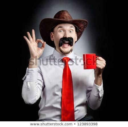 Vicces cowboy arc kalap nagy bajusz Stock fotó © blumer1979