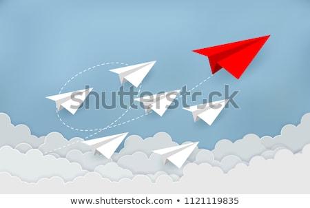 Zdjęcia stock: Papieru · origami · płaszczyzny · latać · w · górę · szary