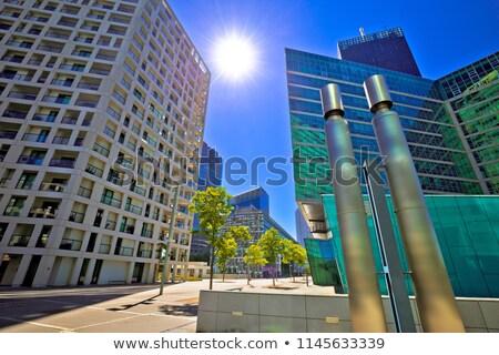 district · vue · bâtiment · nature · bleu · Voyage - photo stock © xbrchx