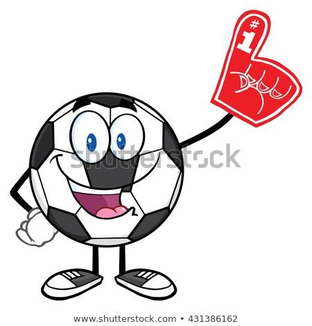 Mutlu futbol topu karikatür maskot karakter köpük Stok fotoğraf © hittoon