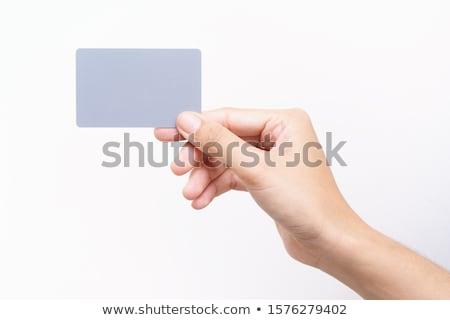 kéz · üres · kártya · tart · üres · papír · névjegy · közelkép - stock fotó © Dinga