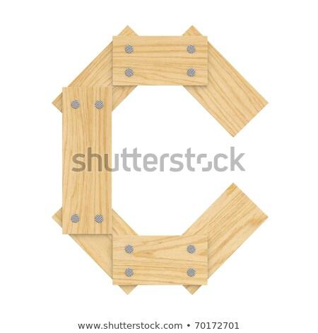 Letra c madeira conselho fonte unhas Foto stock © popaukropa