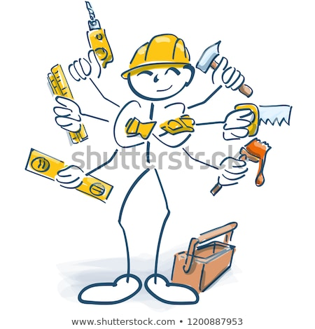 Stick figures as craftsmen and multitasking Stock photo © Ustofre9