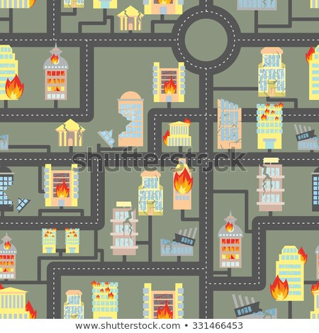destroyed city seamless fire in business buildings and vehicles stock photo © popaukropa