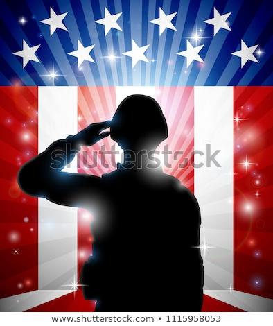 американский сержант позируют рубашку Солнцезащитные очки Сток-фото © sharpner