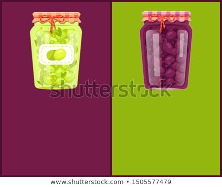 Preserved Food Poster Canned Plums and Green Olive Stock photo © robuart