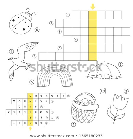 Crossword educational children game with answer. Learning Easter theme puzzle stock photo © Natali_Brill