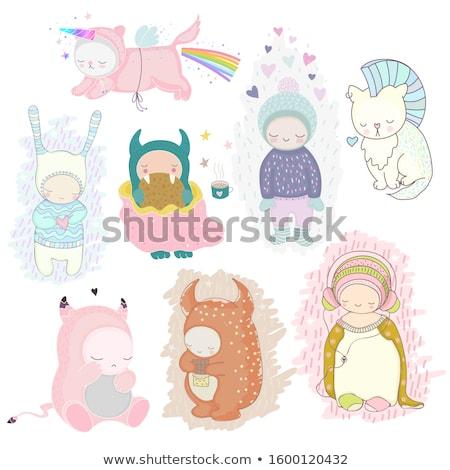 Cartoon Baby Girl Monster Dreaming Stock photo © cthoman