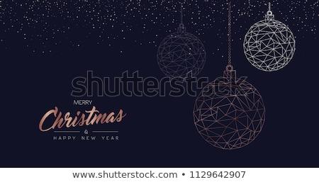 Noël nouvelle année cuivre ligne carte de vœux joyeux Photo stock © cienpies