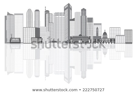 Singapore city skyline silhouette in grayscale stock photo © Ray_of_Light